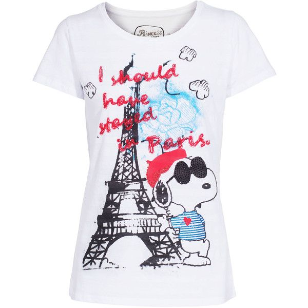Princess Goes Hollywood Snoopy In Paris White Cotton T Shirt With 80 Liked On Polyvore Featuring Tops T Shirts Shirts White Striped Shirt P Pinterest