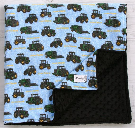 Made With John Deere Flannel Fabric Tractor Minky Baby by Kemaily, $42.99
