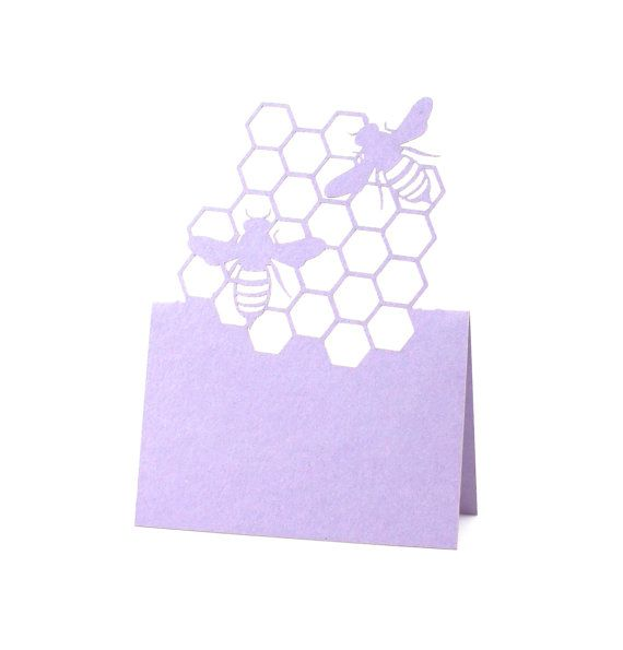 Bee place cards ★ Each 1 quantity is for 30 place cards    BLANK tent style / pop up / laser cut place cards come unfolded, they stand on their