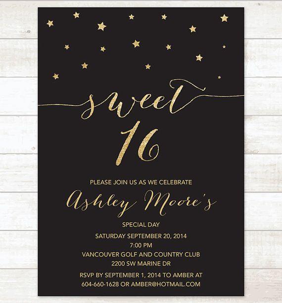 Items similar to black gold sweet sixteen birthday invitation, sweet sixteen invitation, black gold glitter invitation digital invite customizable on Etsy