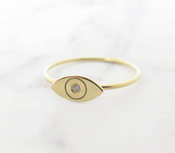 Gold evil eye ring, 14K Evil eye ring, Delicate evil eye ring, Delicate diamond ring, Diamond evil eye ring, Minimal evil eye ring, Dainty