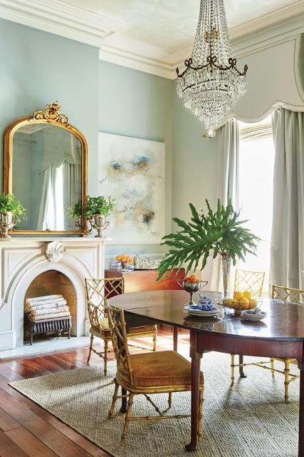 Inspired By This New Orleans Dining Room Featuring What May Be The Perfect Shade Of Aqua A Uniquely Stunning Window Treatment And Beautiful Collection