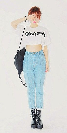 9a47271659f ASIAN STREET FASHION: High Waisted Bottoms with Crop Tops