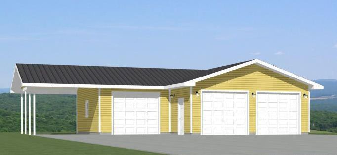 38x36 3 Car Garage With Carport Pdf Garage Plan 1 200 Sq Ft 4 12 Roof Garage Plan Carport 3 Car Garage
