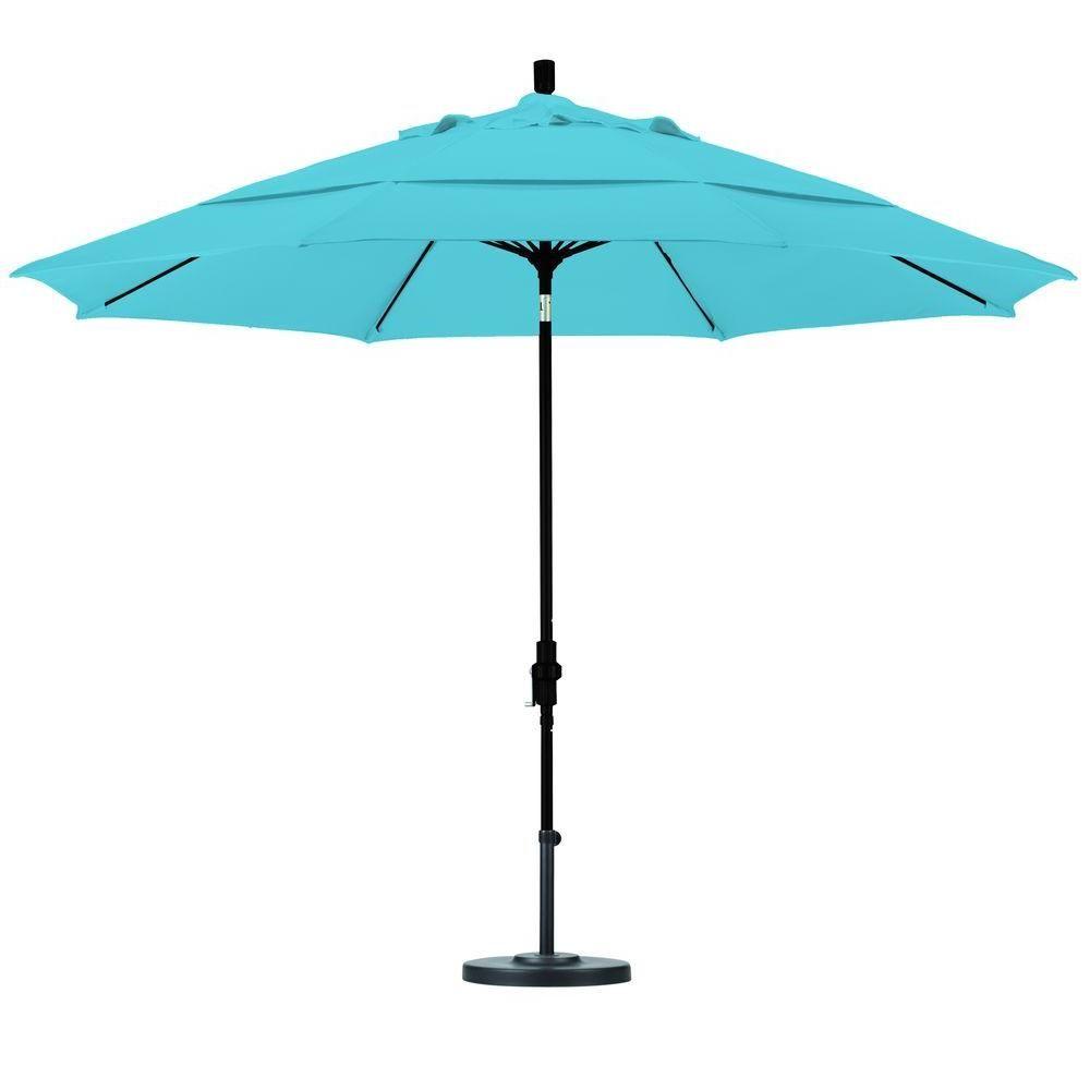 California Umbrella 11 ft. Fiberglass Collar Tilt Double Vented Patio Umbrella in Capri Pacifica
