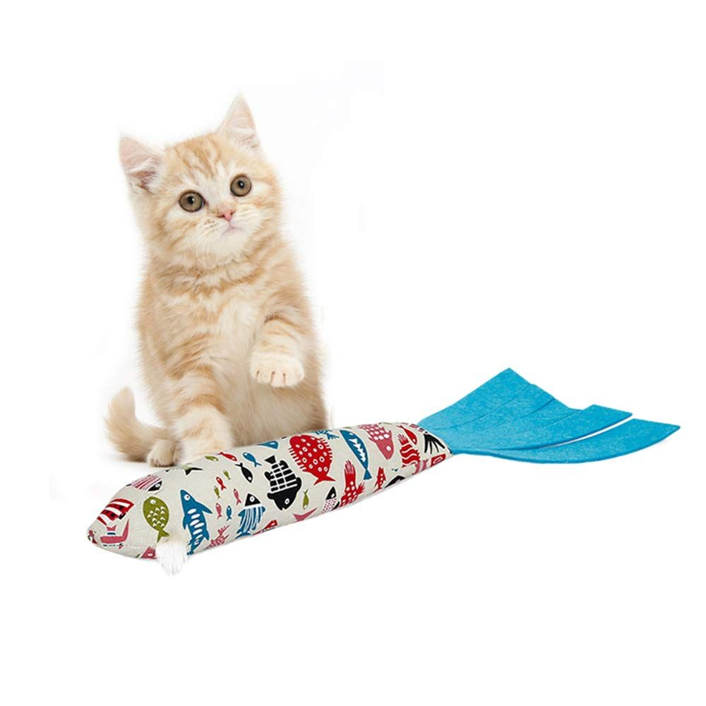 Roblue Catnip Toys Cotton Fish Pillow Shape For Cat Interactive
