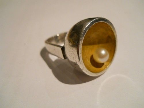 HANS HANSEN SILVER AND SILVER GILT RING,SIGNED IN FULL C 1960