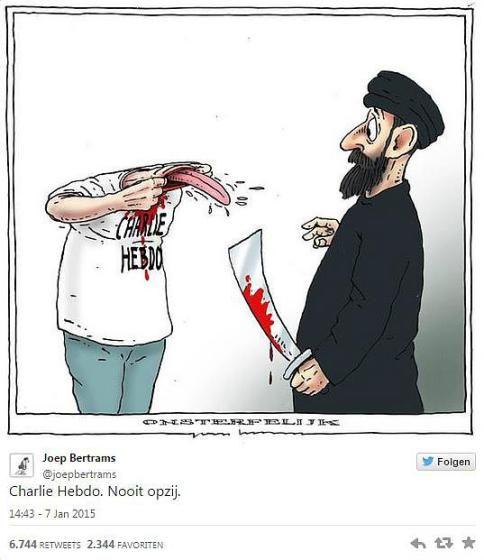 """So reagieren Zeichner aus aller Welt auf den Tod ihrer Kollegen beim Satiremagazin Charlie Hebdo"""": Joep Bertrams: """"Charlie Hebdo - Unaufhaltsam"""". Mehr dazu hier: http://www.nachrichten.at/nachrichten/weltspiegel/Charlie-Hebdo-als-Zeitschrift-der-Ueberlebenden;art17,1598439 (Bild: Joep Bertrams)"""