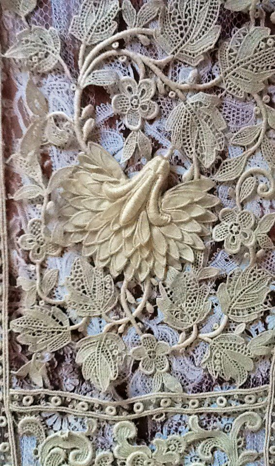 Exquisite Antique Lace...Looks like embroidered applique, but I'm not a lace expert.