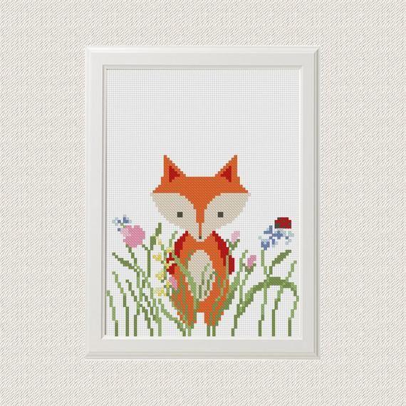 Fox cross stitch pattern Baby cross stitch pattern Funny cross ...