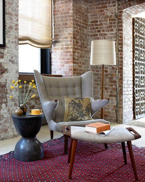 Exposed Brick Wall Living Room Houzz Brick Interior Mid