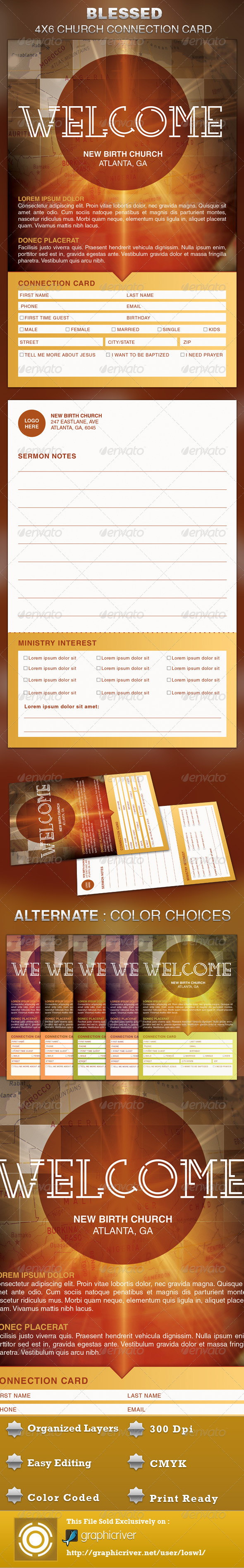 Blessed Church Connection Card Template  Card Templates