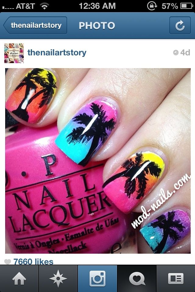 Fun tropical nails , Amazing work by @modnails. Tropical nails ...