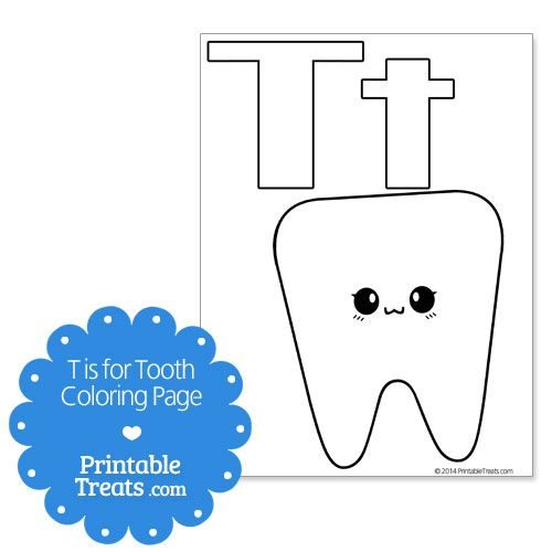 T is for Tooth Coloring Page | healthy teeth | Pinterest | Teeth ...