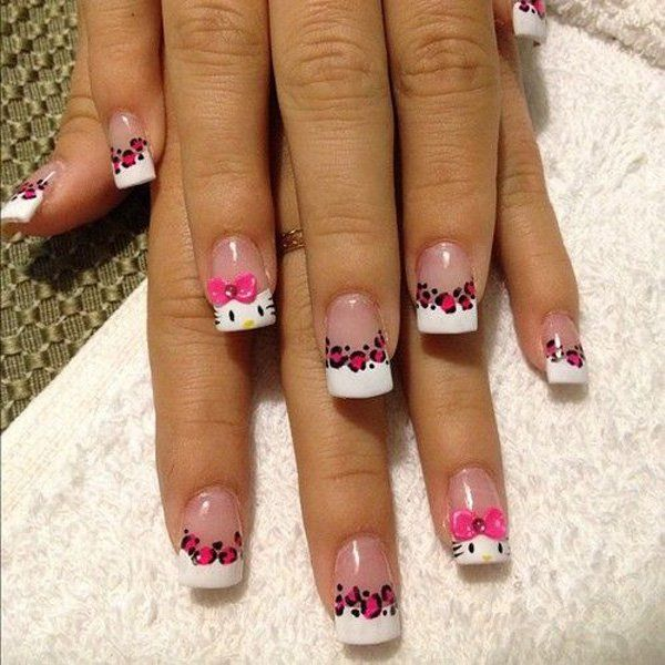 50 hello kitty nail designs pink leopard print hello kitty and 50 hello kitty nail designs prinsesfo Images