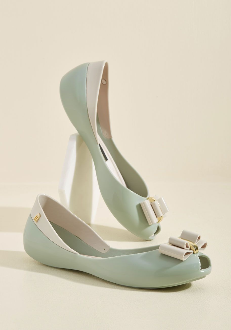 db695944b3f Bow Out of Your Way Peep Toe Flat by Melissa Shoes - Mint