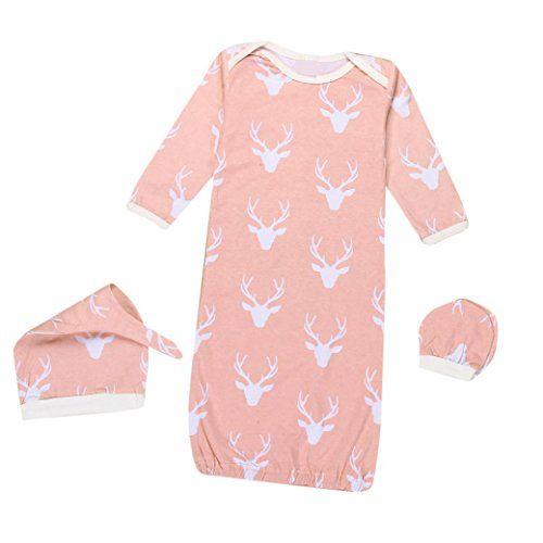 b556a2ea07c 3 PCS Set Toraway Newborn Baby Boys Girls Christmas Reindeer Gown Hat No  Scratch Mittens 3Pcs