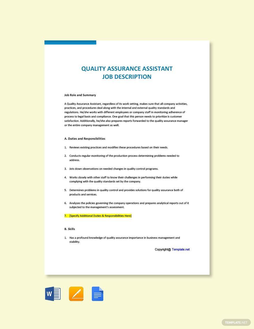 Free Quality Assurance Assistant Job Description Template