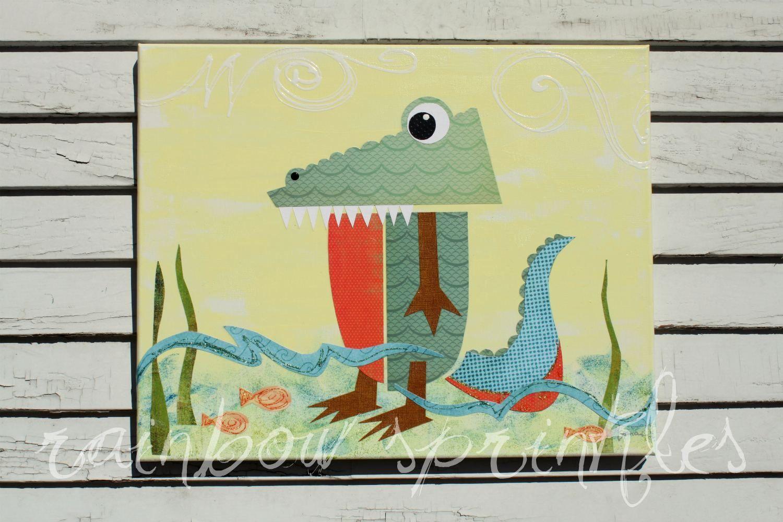 Children\'s Wall Art Print 8x10- crocodile, alligator, Kids Art, Kids ...