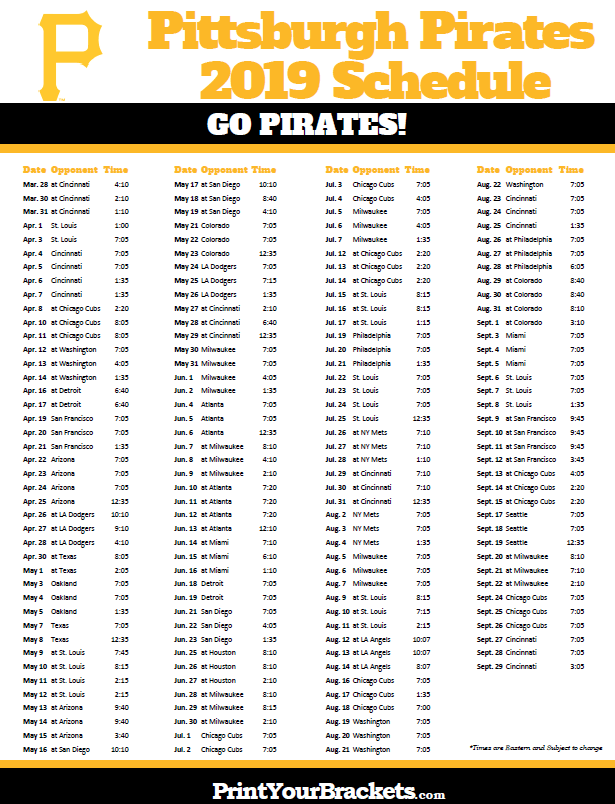 picture about Diamondbacks Schedule Printable identified as Printable 2019 Pittsburgh Pirates Program Printable MLB