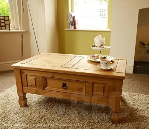Traditional Wood Coffee Table Drawer Waxed Solid Pine Solid Brown