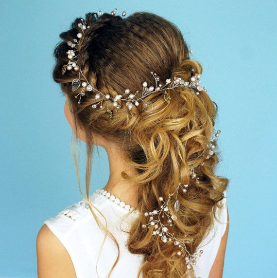 Quirky Wedding Hairstyle: Wedding Bohemian Headpiece With Gold Leaf Perfectly For