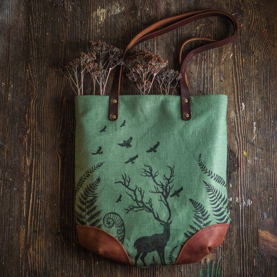 73492782f814 Linen Block Print Bag for Women, Gray Leather Tote Bag, Forest Deer ...