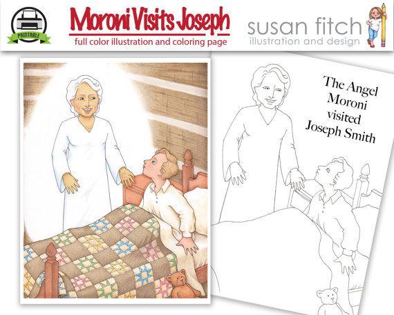 Angel Moroni Visits Joseph Smith, Illustration and coloring page ...
