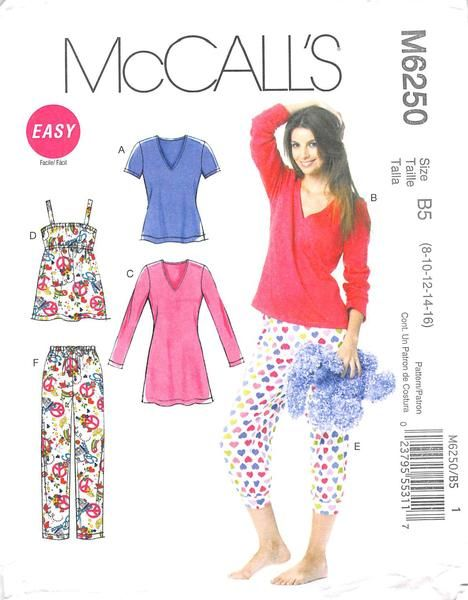 MCCALLS 6250 - FROM 2010 - UNCUT - MISSES TOP, NIGHTSHIRT & PANTS ...