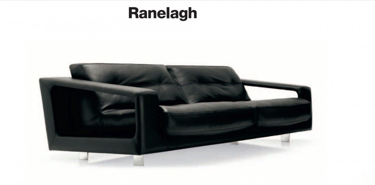 Canape Steiner Ranelagh 4 Places Revetement En Cuir Noir Design