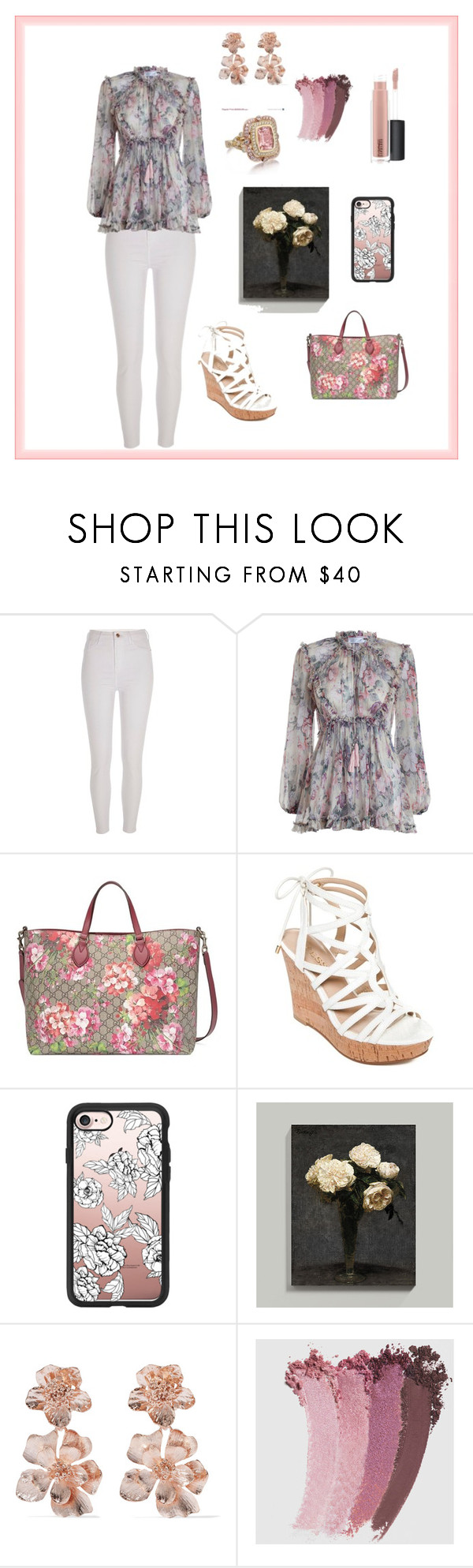 """""""Floral tops flower🌸"""" by anyi-love ❤ liked on Polyvore featuring River Island, Zimmermann, Gucci, GUESS, Casetify, Ballard Designs, Oscar de la Renta and MAC Cosmetics"""