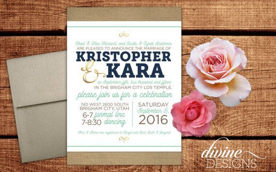 Elegant Wedding Announcements Lds Invitations Rustic Country Burlap