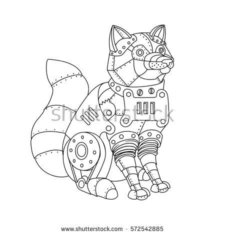 Mechanical Animal Coloring Book Raster Illustration