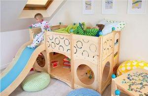 trendiges hochbett mit rutsche einrichtungsideen f r kinderzimmer kinderzimmer pinterest. Black Bedroom Furniture Sets. Home Design Ideas