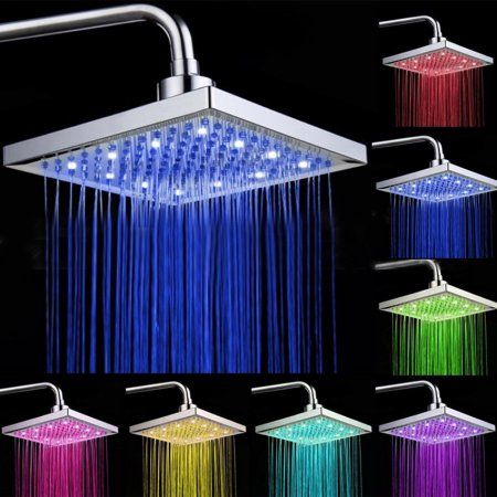 8inch Led Rain Shower Head Flash Light Square Showerhead 7 Colors Changing No Battery Required Shower Heads Led Shower Head Bathroom Shower Heads