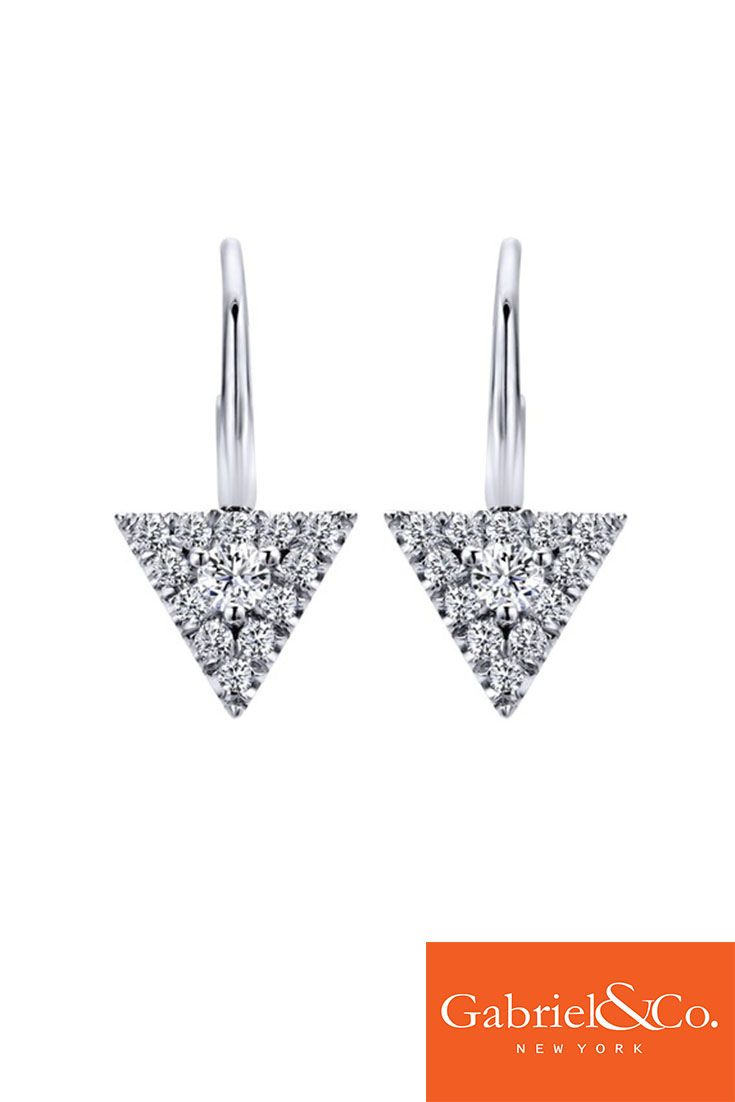 Gorgeous 14k White Gold Diamond Drop Earring by Gabriel and Co.  Find yours at www.mcgeejewelers.com!