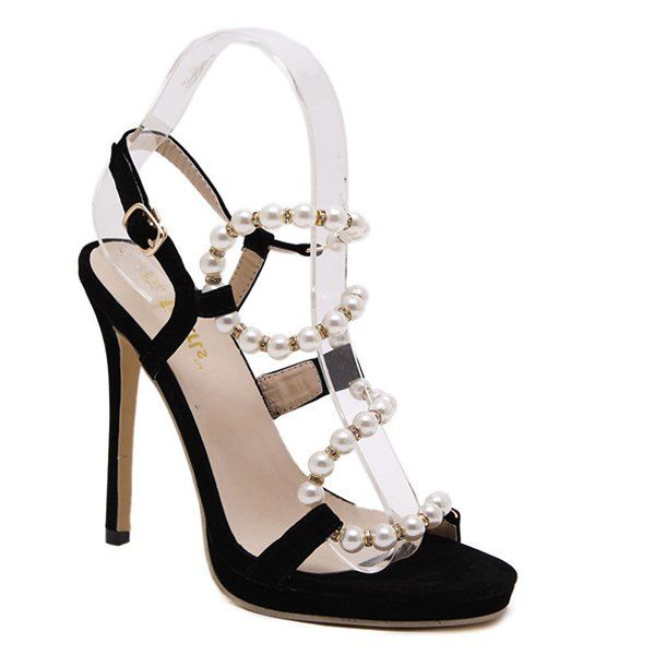 Stylish Faux Pearl and Stiletto Heel Design Women's Sandals