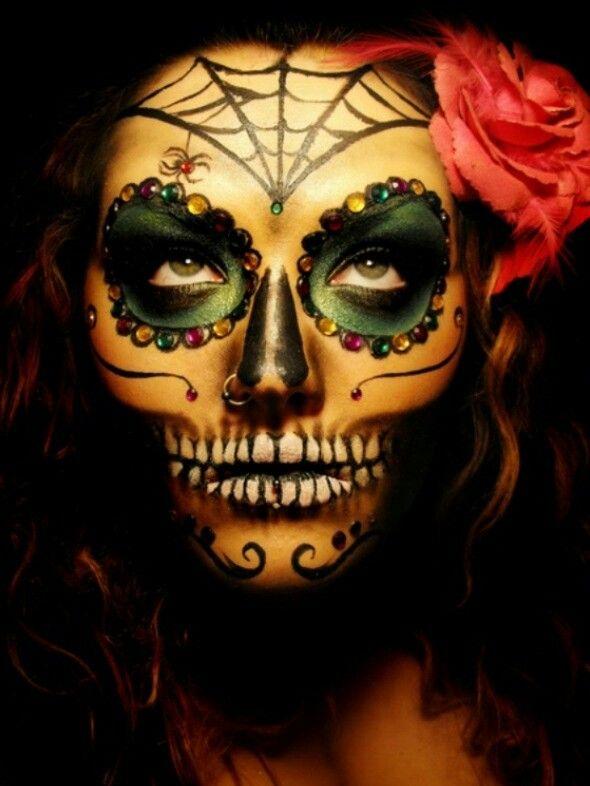 sugar skull omg love this make up halloween. Black Bedroom Furniture Sets. Home Design Ideas