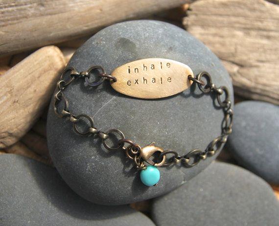 inhale exhale . a hand stamped soul mantra bracelet by lizlamoreux, $34.00