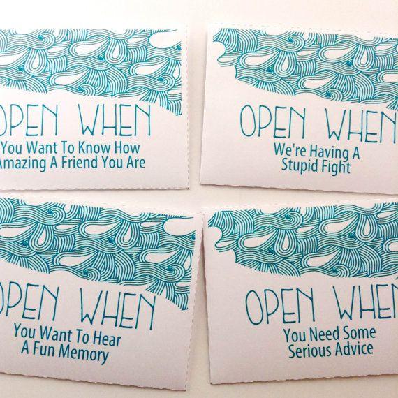 Open When Envelopes For Your Best Friend: 10 CUSTOM Open When Letters Envelopes By