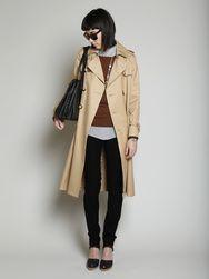 Pieces: Narrow leg pants: navy; Button down top: grey/denim blue; Long sleeve knit: chocolate; Trench coat: khaki