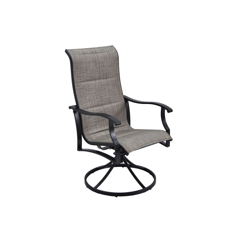 Garden Treasures Skytop 2 Count Black Steel Swivel Rocker Patio Dining  Chairs With Gray Sling