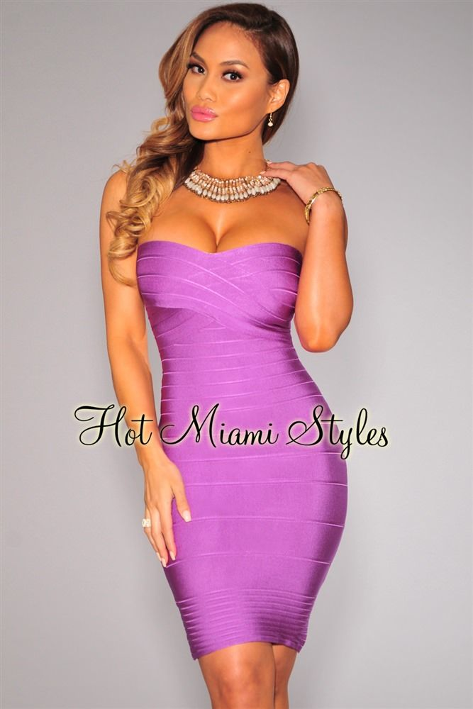 c66a1856318 Lavender Strapless Bandage Dress in 2019