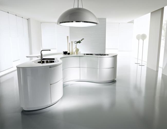 Interessante Kochinsel Mit Vielen Rundungen / Kurven #Kueche #Design  #Planung Http:/