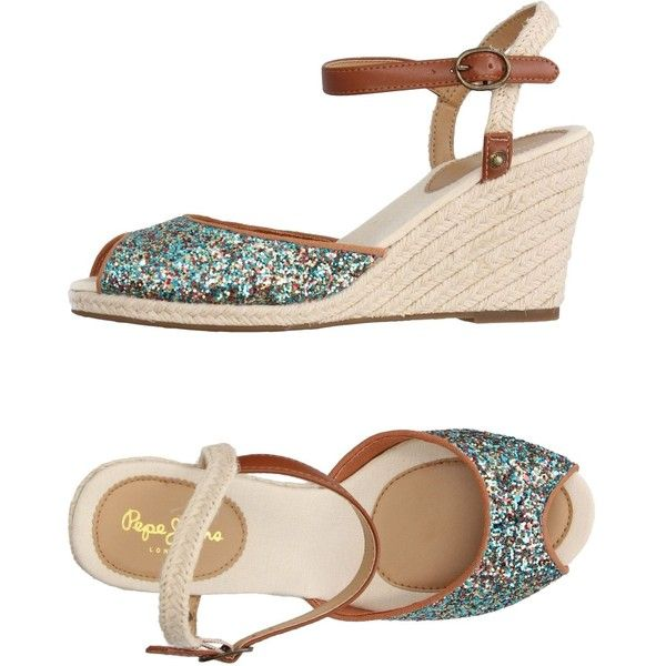 Pepe Jeans Espadrilles ($57) ❤ liked on Polyvore featuring shoes, sandals, turquoise, wedge sandals, glitter shoes, wedge shoes, glitter espadrilles and multi color sandals