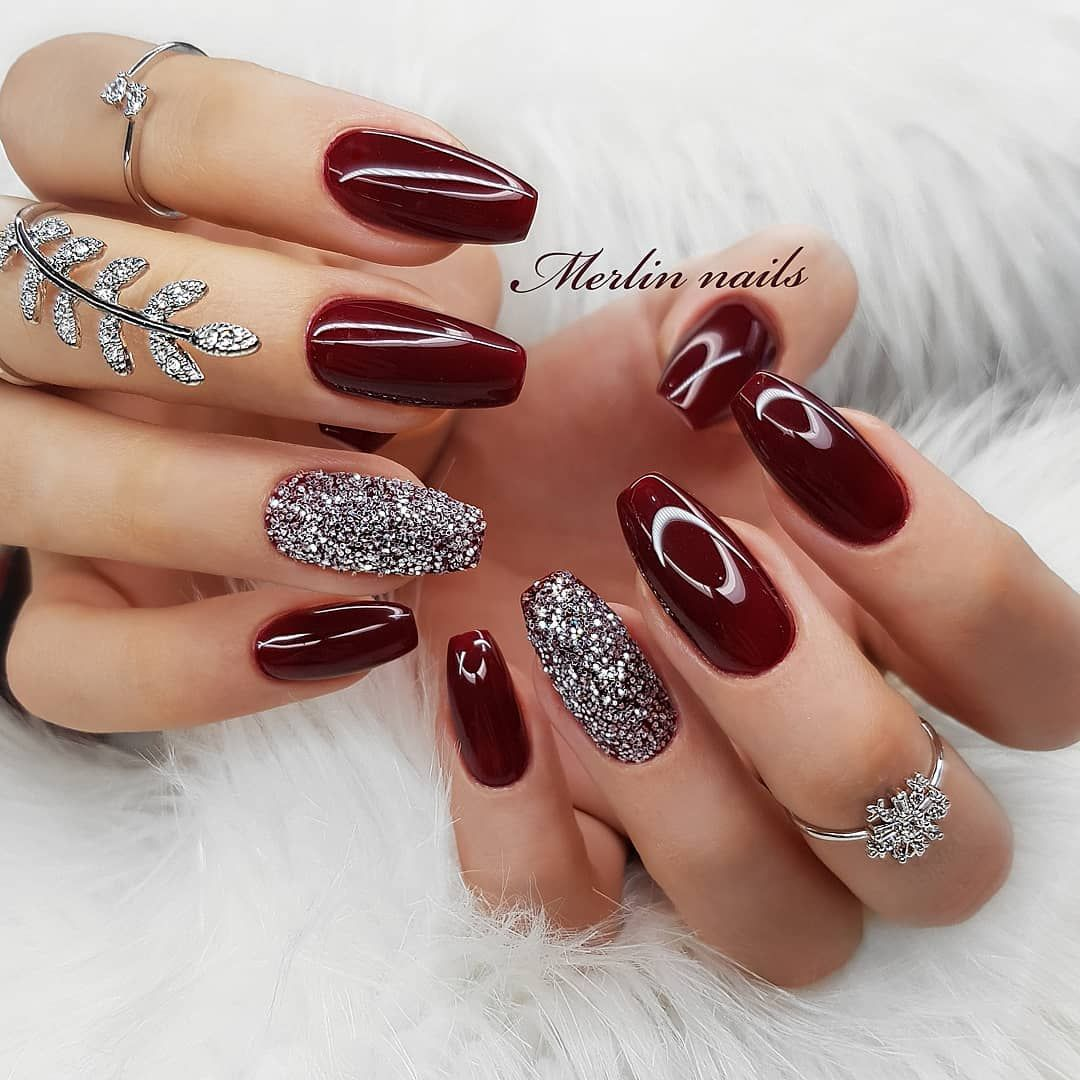 Gel Nails For Christmas 2019: Maroon And Glitter Nails Give You AwesomeMaroon And