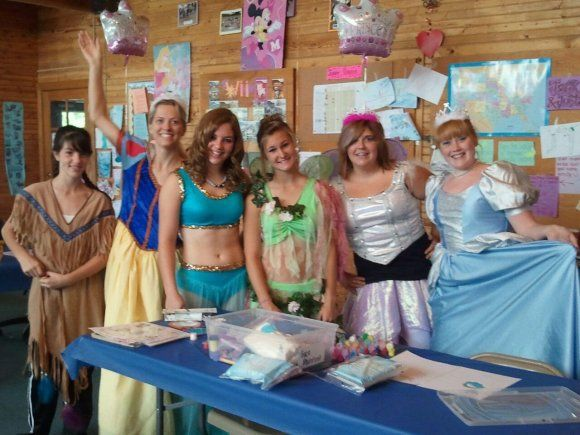 My daughter Cherie with her friends at WaldenWoods. They dressed up as a princess for all the little girls on the campground.