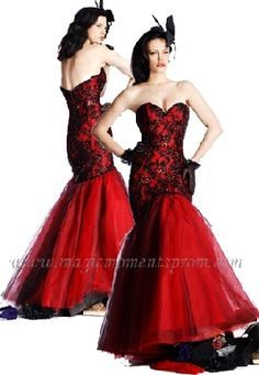 Black Red Mermaid Prom Dress with Lace