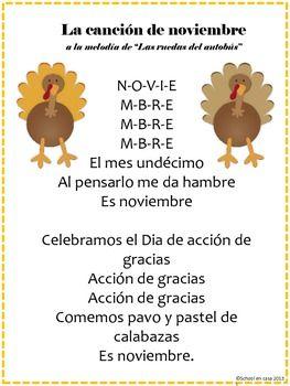 Cancion de noviembre - November Calendar Song, Spanish [Dual Immersion]