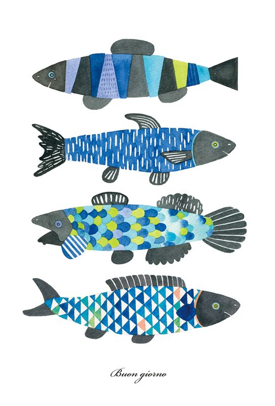 Yoko Hishida Illustration 魚 絵 魚イラスト ハンドメイド